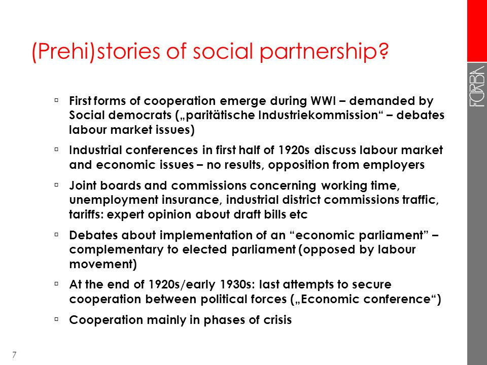 7 (Prehi)stories of social partnership.