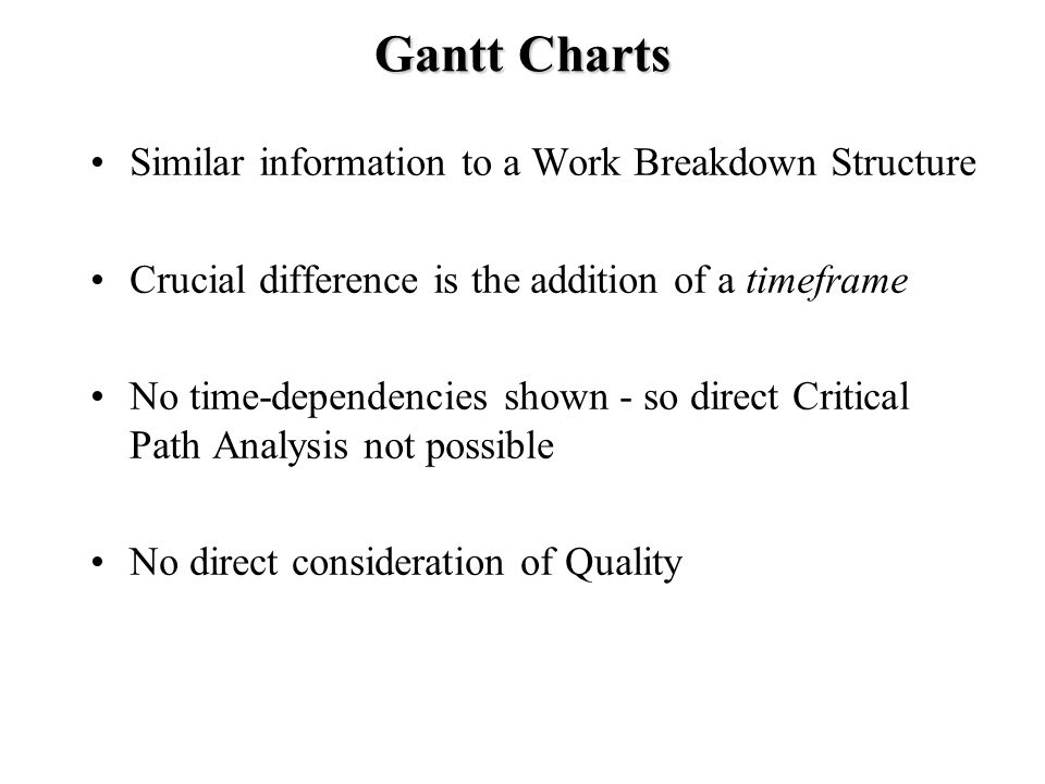 Gantt Charts Similar information to a Work Breakdown Structure Crucial difference is the addition of a timeframe No time-dependencies shown - so direct Critical Path Analysis not possible No direct consideration of Quality