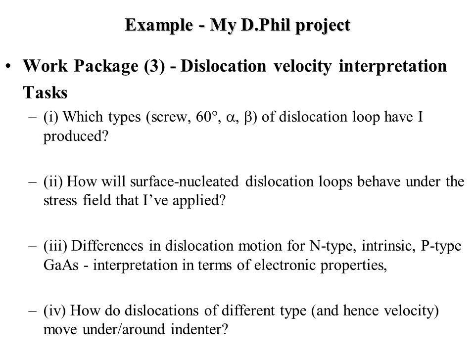 Example - My D.Phil project Work Package (3) - Dislocation velocity interpretation Tasks –(i) Which types (screw, 60°,  ) of dislocation loop have I produced.