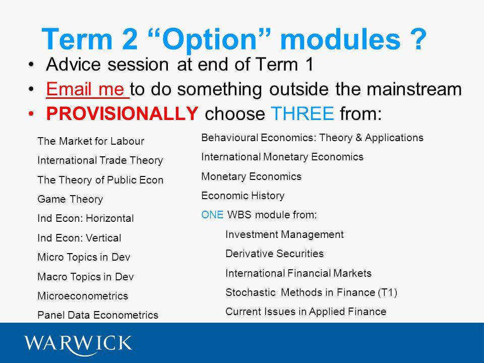 Term 2 Option modules .