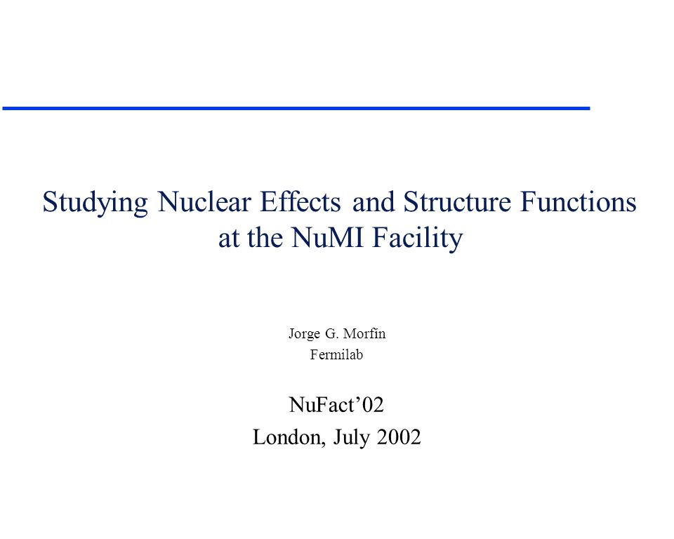Studying Nuclear Effects and Structure Functions at the NuMI Facility Jorge G.