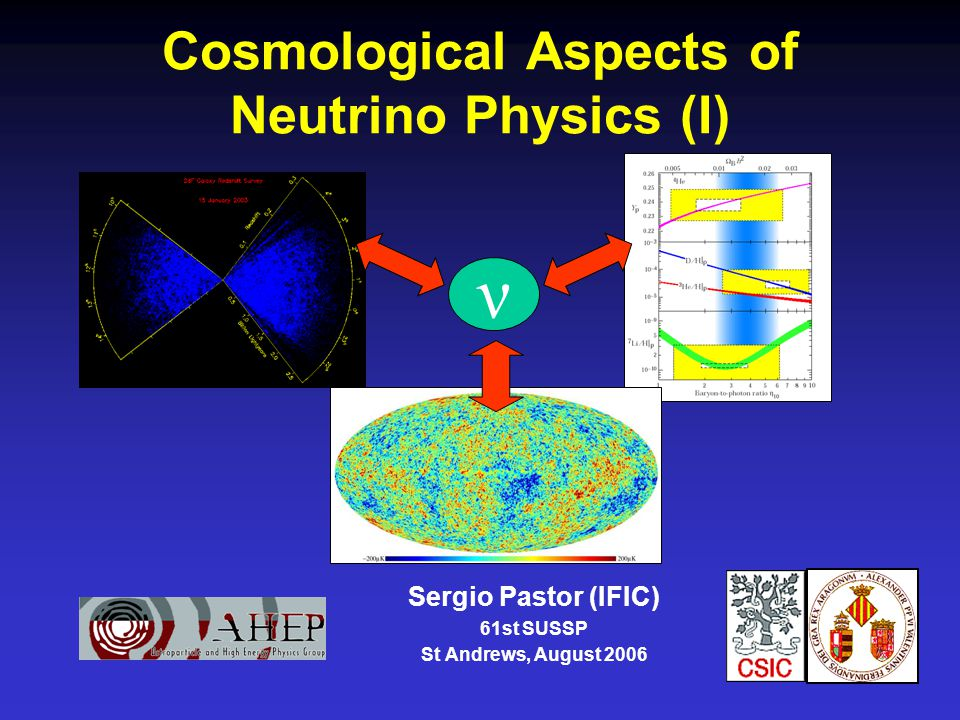 Cosmological Aspects of Neutrino Physics (I) Sergio Pastor (IFIC) 61st SUSSP St Andrews, August 2006 ν