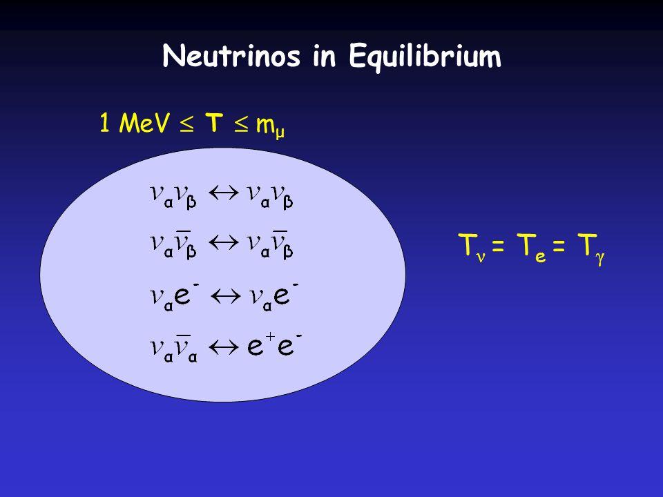 T ν = T e = T γ 1 MeV  T  m μ Neutrinos in Equilibrium