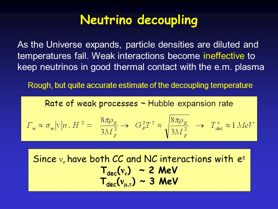 Neutrino decoupling As the Universe expands, particle densities are diluted and temperatures fall.