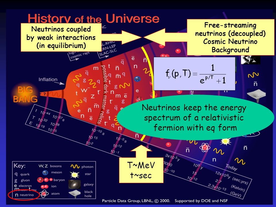 T~MeV t~sec Free-streaming neutrinos (decoupled) Cosmic Neutrino Background Neutrinos coupled by weak interactions (in equilibrium) Neutrinos keep the energy spectrum of a relativistic fermion with eq form