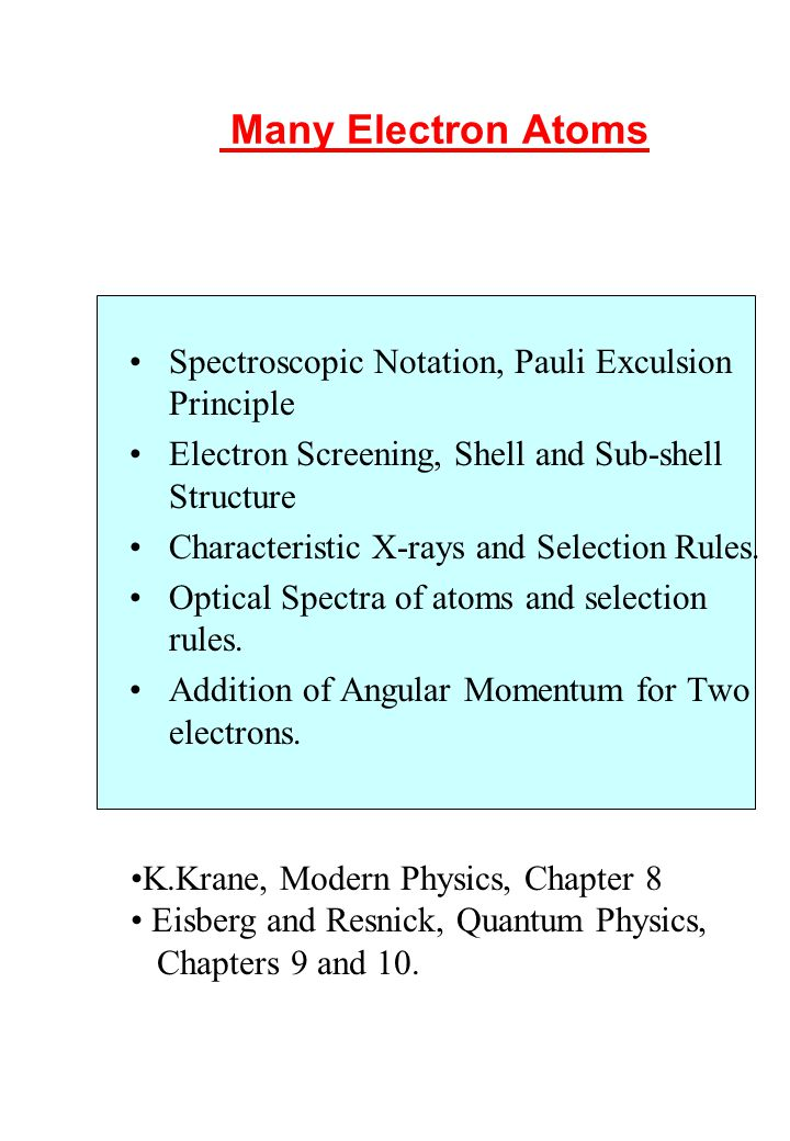 W.N. Catford/P.H. Regan 1AMQ 83 Many Electron Atoms Spectroscopic Notation, Pauli Exculsion Principle Electron Screening, Shell and Sub-shell Structur