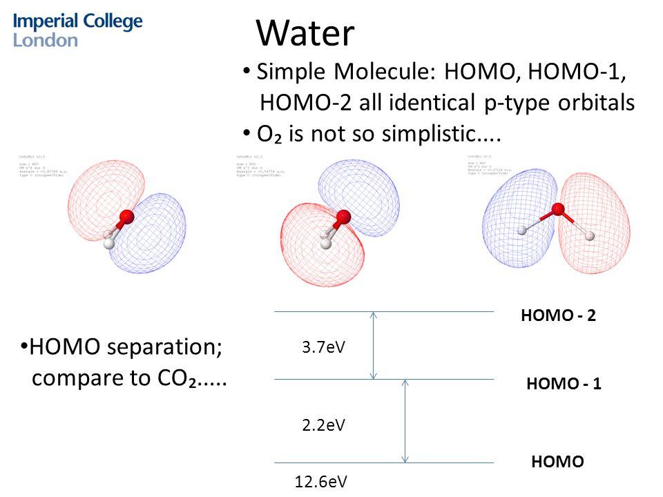 Water HOMO - 2 HOMO - 1 HOMO 2.2eV 3.7eV Simple Molecule: HOMO, HOMO-1, HOMO-2 all identical p-type orbitals O₂ is not so simplistic.... HOMO separati