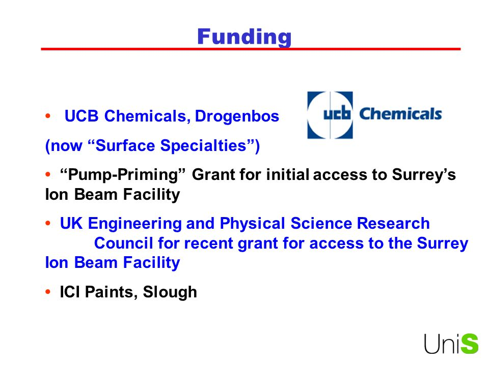 Funding UCB Chemicals, Drogenbos (now Surface Specialties ) Pump-Priming Grant for initial access to Surrey's Ion Beam Facility UK Engineering and Physical Science Research Council for recent grant for access to the Surrey Ion Beam Facility ICI Paints, Slough