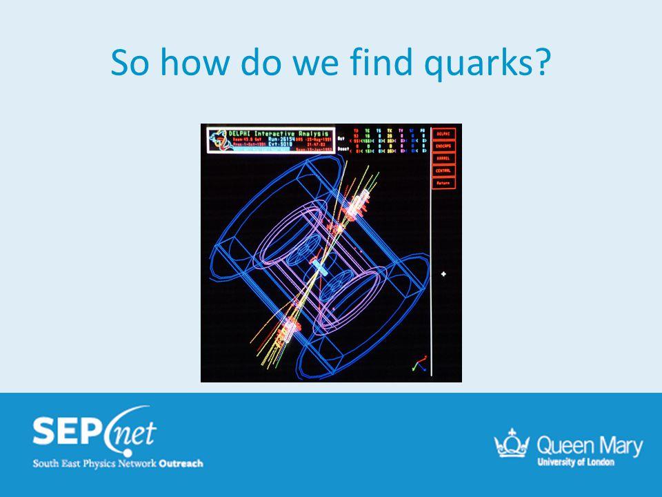 So how do we find quarks?