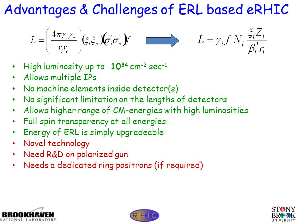 Page 46 Advantages & Challenges of ERL based eRHIC High luminosity up to 10 34 cm -2 sec -1 Allows multiple IPs No machine elements inside detector(s) No significant limitation on the lengths of detectors Allows higher range of CM-energies with high luminosities Full spin transparency at all energies Energy of ERL is simply upgradeable Novel technology Need R&D on polarized gun Needs a dedicated ring positrons (if required)