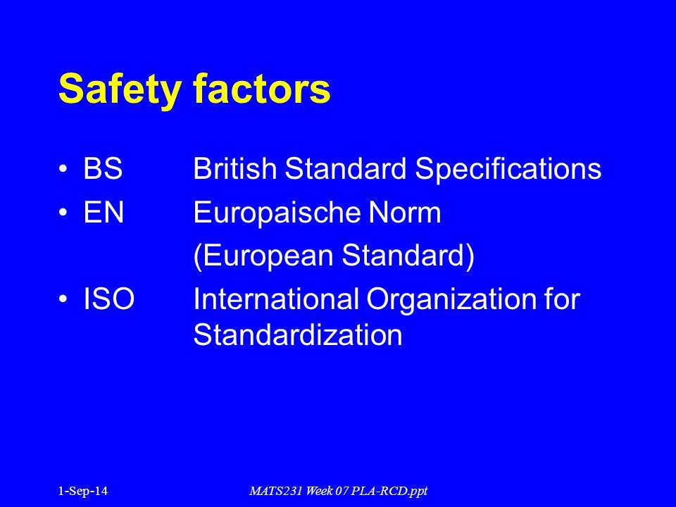 MATS231 Week 07 PLA-RCD.ppt Safety factors BS British Standard Specifications EN Europaische Norm (European Standard) ISOInternational Organization fo