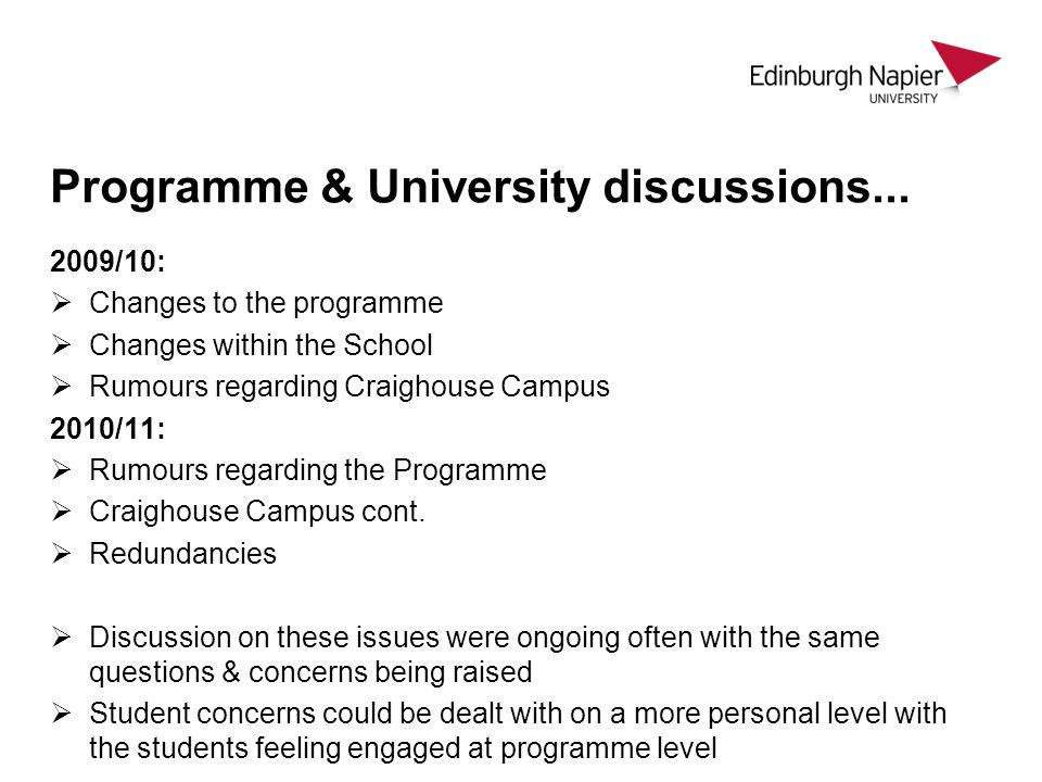 Programme & University discussions...