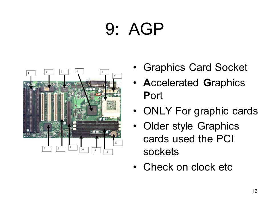 16 9: AGP Graphics Card Socket Accelerated Graphics Port ONLY For graphic cards Older style Graphics cards used the PCI sockets Check on clock etc