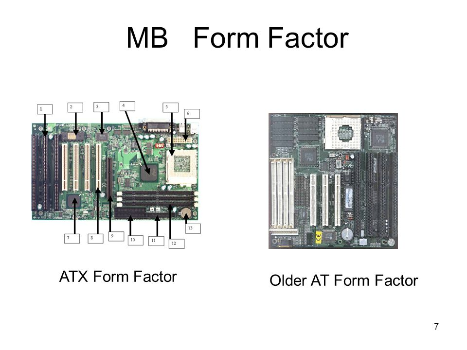 7 MB Form Factor Older AT Form Factor ATX Form Factor
