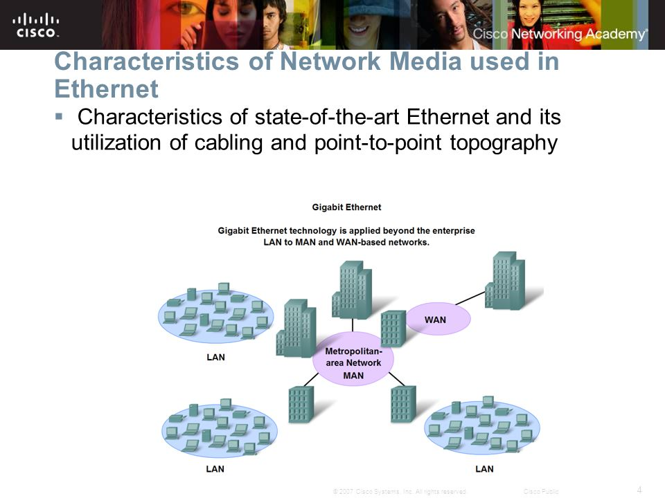 4 © 2007 Cisco Systems, Inc. All rights reserved.Cisco Public Characteristics of Network Media used in Ethernet  Characteristics of state-of-the-art