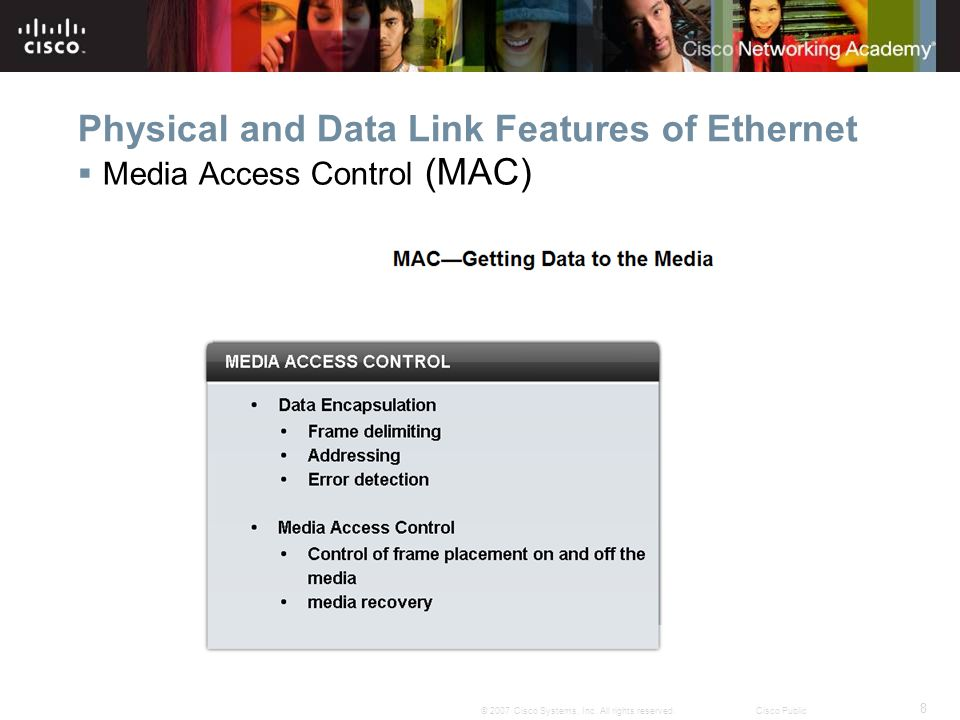 8 © 2007 Cisco Systems, Inc. All rights reserved.Cisco Public Physical and Data Link Features of Ethernet  Media Access Control (MAC)