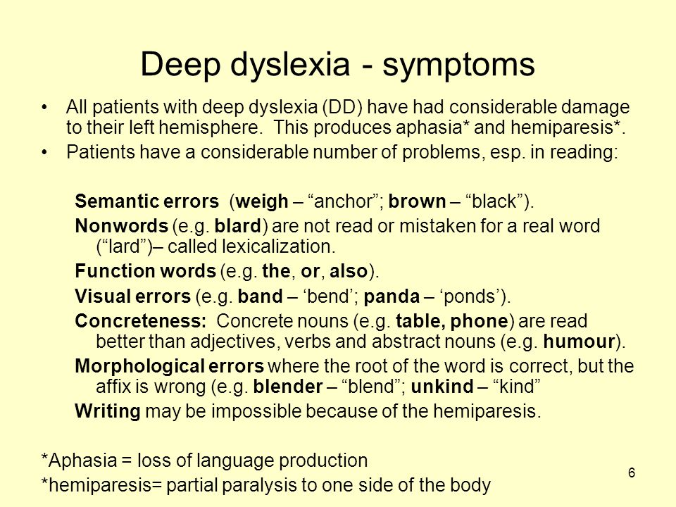 7 Deep dyslexia: its cause Coltheart (1980) has proposed that DD is unique because it is not using a damaged reading system, instead the whole of the left hemisphere is out of commission.