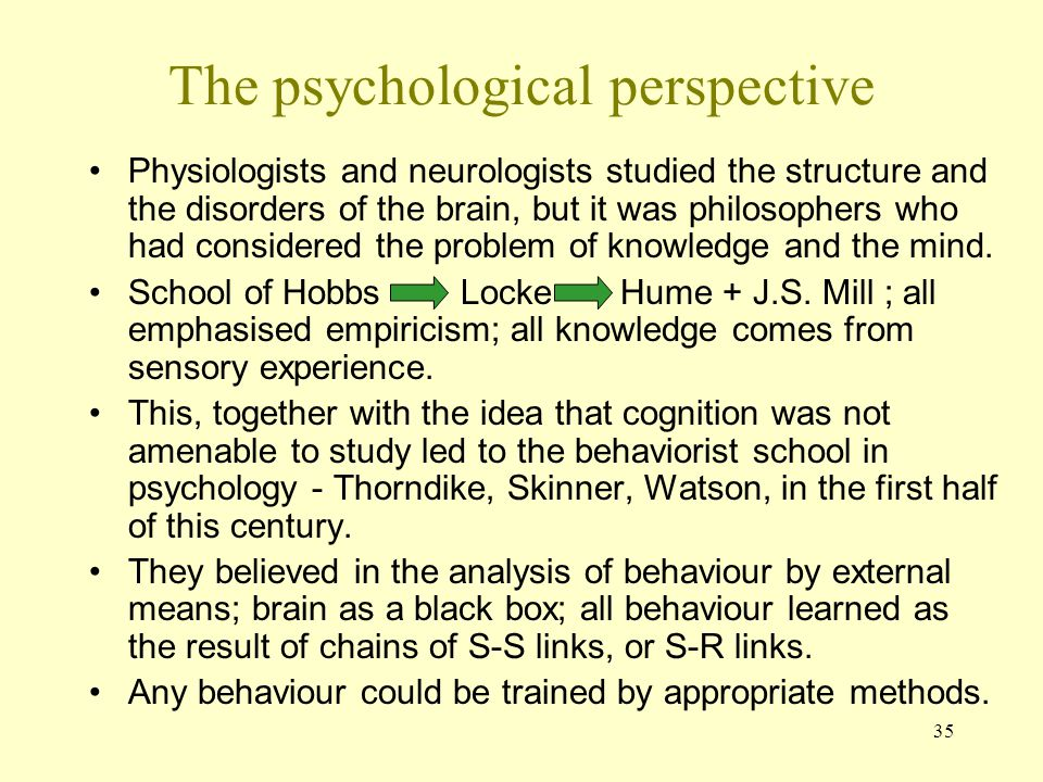 35 The psychological perspective Physiologists and neurologists studied the structure and the disorders of the brain, but it was philosophers who had