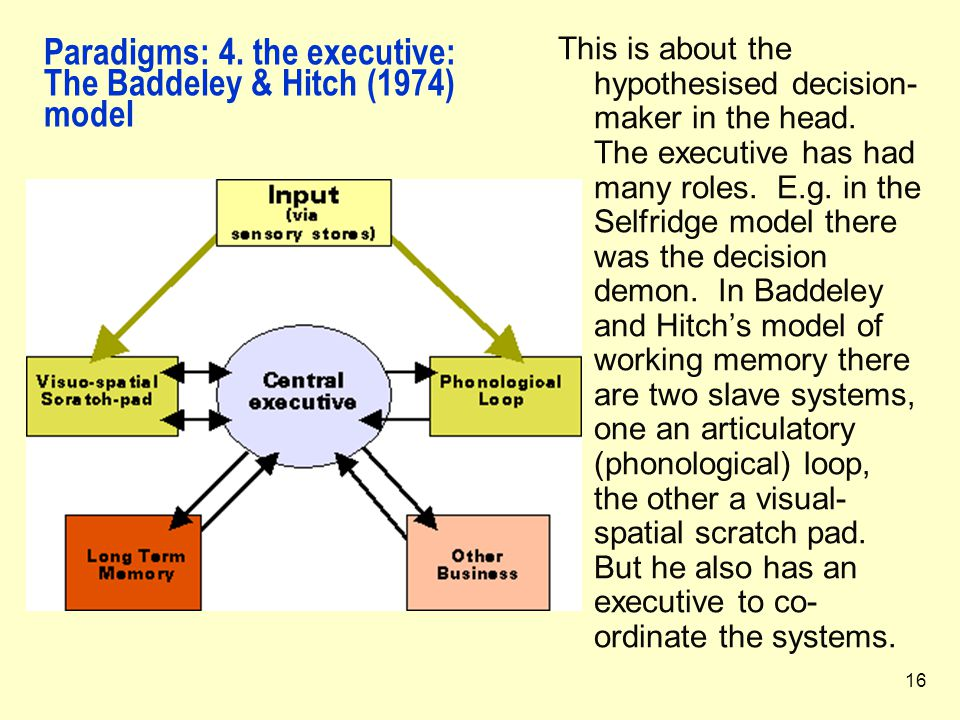 16 Paradigms: 4. the executive: The Baddeley & Hitch (1974) model This is about the hypothesised decision- maker in the head. The executive has had ma