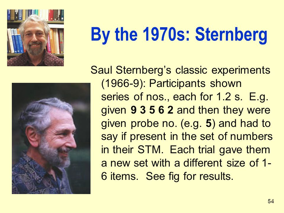 54 By the 1970s: Sternberg Saul Sternberg's classic experiments (1966-9): Participants shown series of nos., each for 1.2 s. E.g. given 9 3 5 6 2 and