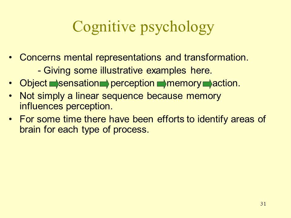 31 Cognitive psychology Concerns mental representations and transformation.