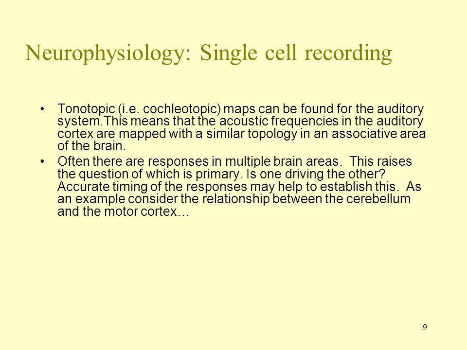 9 Neurophysiology: Single cell recording Tonotopic (i.e.