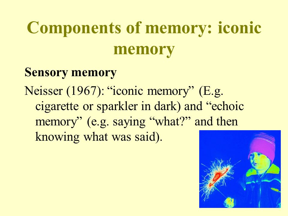 "4 Components of memory: iconic memory Sensory memory Neisser (1967): ""iconic memory"" (E.g. cigarette or sparkler in dark) and ""echoic memory"" (e.g. sa"