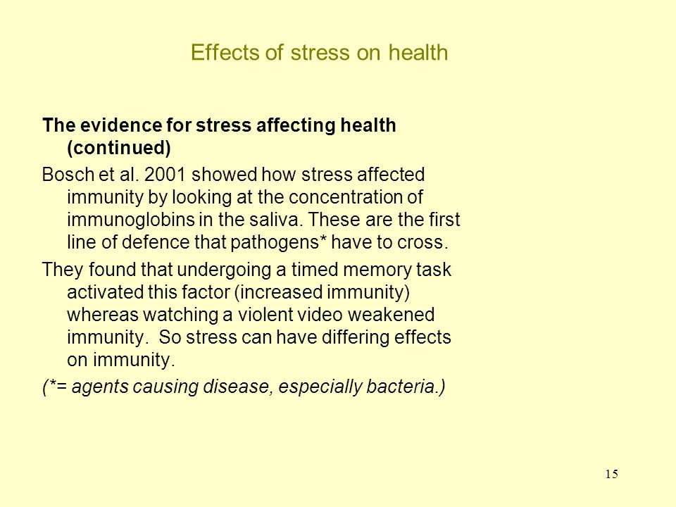 15 Effects of stress on health The evidence for stress affecting health (continued) Bosch et al. 2001 showed how stress affected immunity by looking a