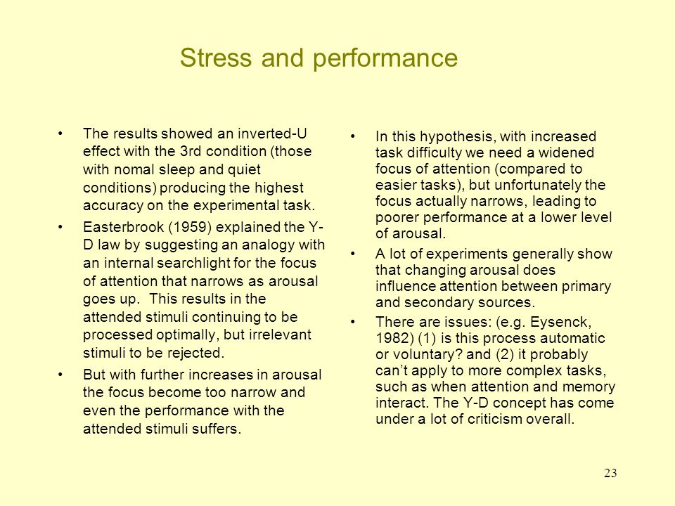 23 Stress and performance The results showed an inverted-U effect with the 3rd condition (those with nomal sleep and quiet conditions) producing the h