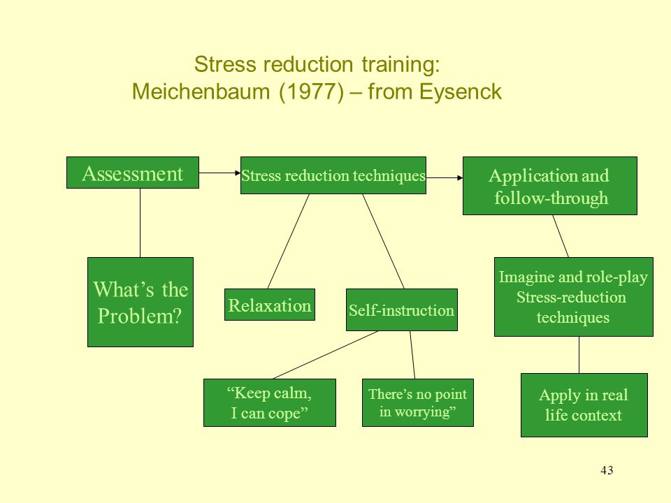 43 Stress reduction training: Meichenbaum (1977) – from Eysenck Assessment Stress reduction techniques Application and follow-through What's the Probl