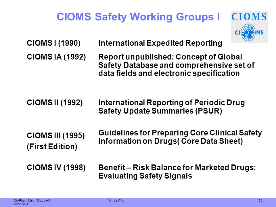 23 CIOMS Safety Working Groups I CIOMS I (1990)International Expedited Reporting CIOMS IA (1992)Report unpublished: Concept of Global Safety Database