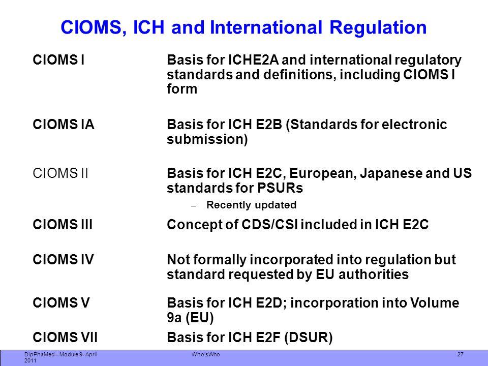 27 CIOMS, ICH and International Regulation CIOMS IBasis for ICHE2A and international regulatory standards and definitions, including CIOMS I form CIOM