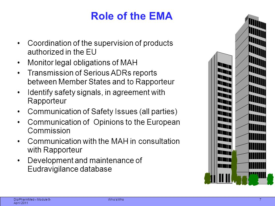 Who'sWho Committee for Medicinal Products for Human Use (CHMP) Prepares EMA's opinions on all questions concerning medicinal products Centrally approved products  Assessment of MAAs and maintenance including modifications and extensions (variations) MRP & decentralised products  Provides arbitration in event of Member State disagreement Monitoring of safety of products through EU network of national medicines agencies 8