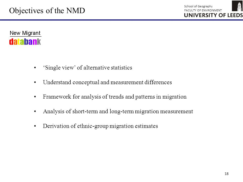 School of Geography FACULTY OF ENVIRONMENT 18 Objectives of the NMD 'Single view' of alternative statistics Understand conceptual and measurement differences Framework for analysis of trends and patterns in migration Analysis of short-term and long-term migration measurement Derivation of ethnic-group migration estimates