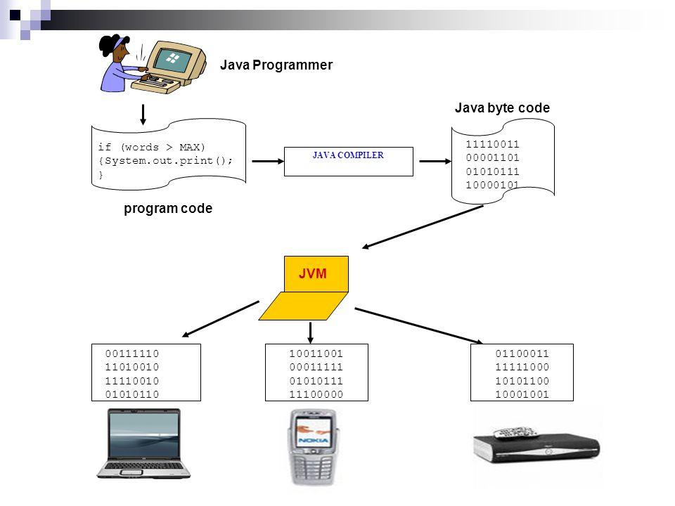 JAVA COMPILER if (words > MAX) {System.out.print(); } program code JVM Java byte code 11110011 00001101 01010111 10000101 Java Programmer 00111110 11010010 11110010 01010110 10011001 00011111 01010111 11100000 01100011 11111000 10101100 10001001
