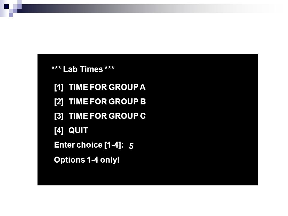 *** Lab Times *** [1] TIME FOR GROUP A [2] TIME FOR GROUP B [3] TIME FOR GROUP C [4] QUIT Enter choice [1-4]: 5 Options 1-4 only!