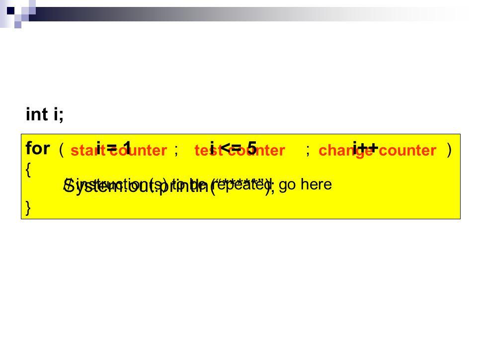 for (int i = 1; i <= 5 ; i++) { for (int j = 1; j <= 5 ; j++) { System.out.print( * ); } System.out.println( ); } System.out.println( Size of square? ); num = sc.nextInt(); num; i++) num; j++)