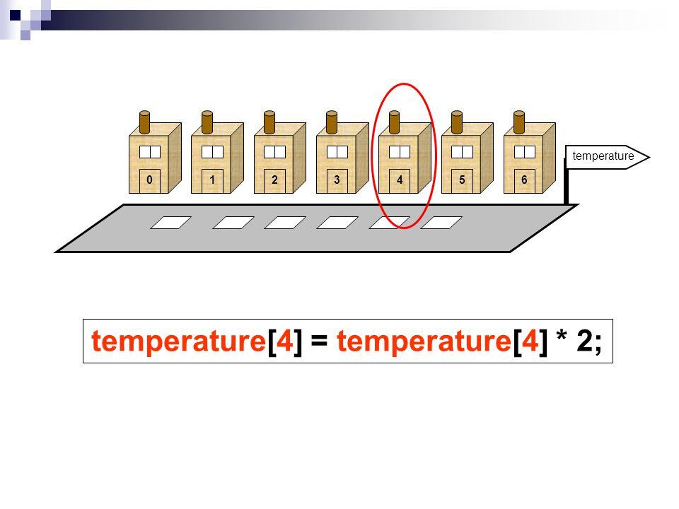 0123456 temperature[4] = temperature[4] * 2;