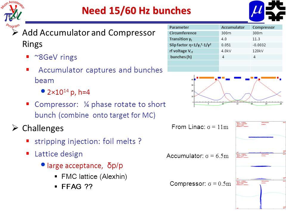 Need 15/60 Hz bunches  Add Accumulator and Compressor Rings  ~8GeV rings  Accumulator captures and bunches beam 2×10 14 p, h=4  Compressor: ¼ phas