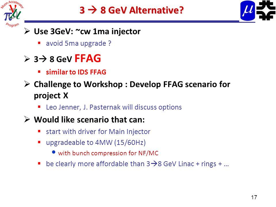 17 3  8 GeV Alternative.  Use 3GeV: ~cw 1ma injector  avoid 5ma upgrade .
