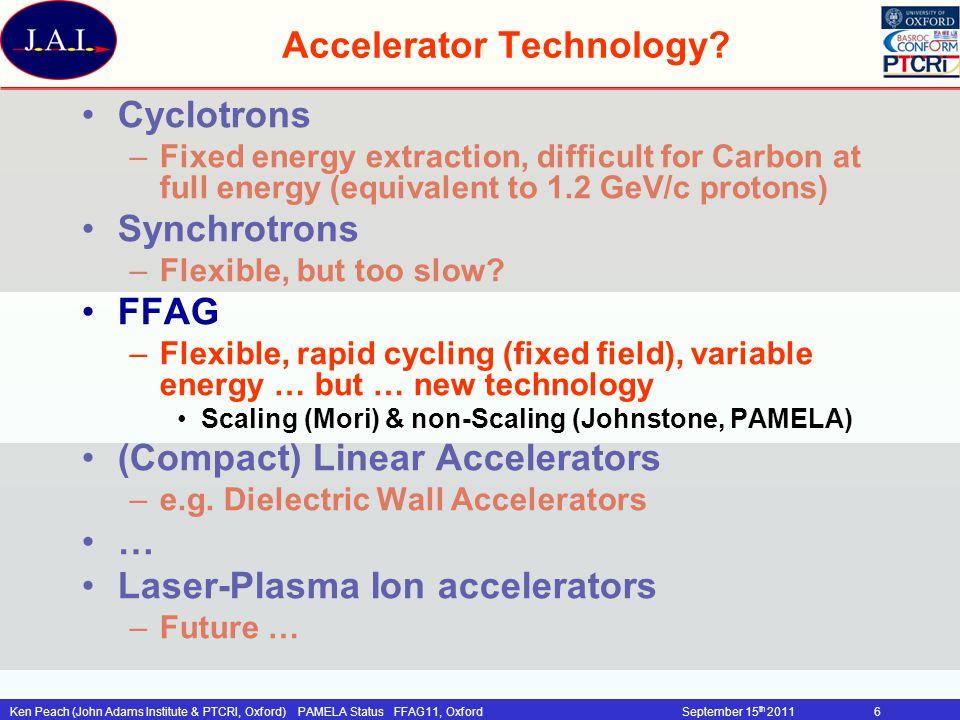 Ken Peach (John Adams Institute & PTCRI, Oxford)PAMELA Status FFAG11, OxfordSeptember 15 th 201127 RF System 1kHz repetition rate ~ 100kV/turn Drift space ~1.7m Target energy gain: –~16kV/turn/cavity Challenges: –duty cycle, Modulation, gradient Ferrite loaded cavity –baseline: ISIS 2nd harm.