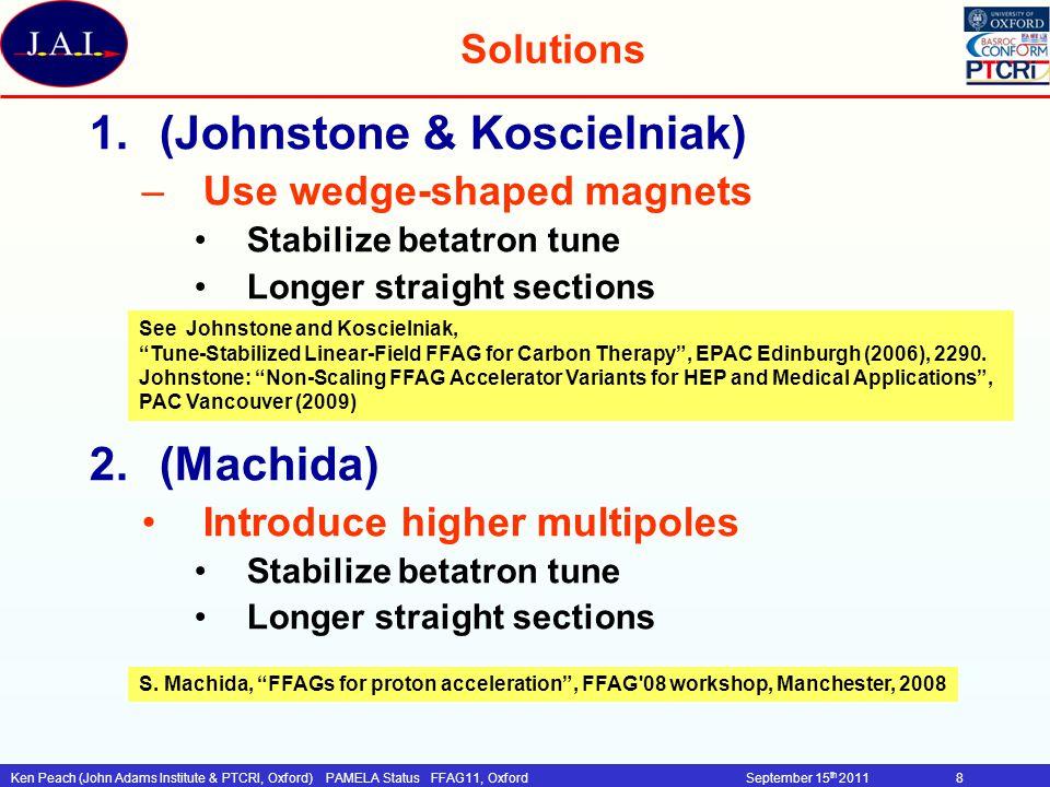 Ken Peach (John Adams Institute & PTCRI, Oxford)PAMELA Status FFAG11, OxfordSeptember 15 th 201129 PAMELA: Beam extraction Kicker system Vertical extraction Advantages over horizontal extraction –weaker field <0.06T~1m (hor: 2.9 kG) –Peak voltage: 30kV (hor: 446 kV for movable C-type) R&D issues –Large aspect ratio kicker (185x26 mm 2 ) kicker inductance.