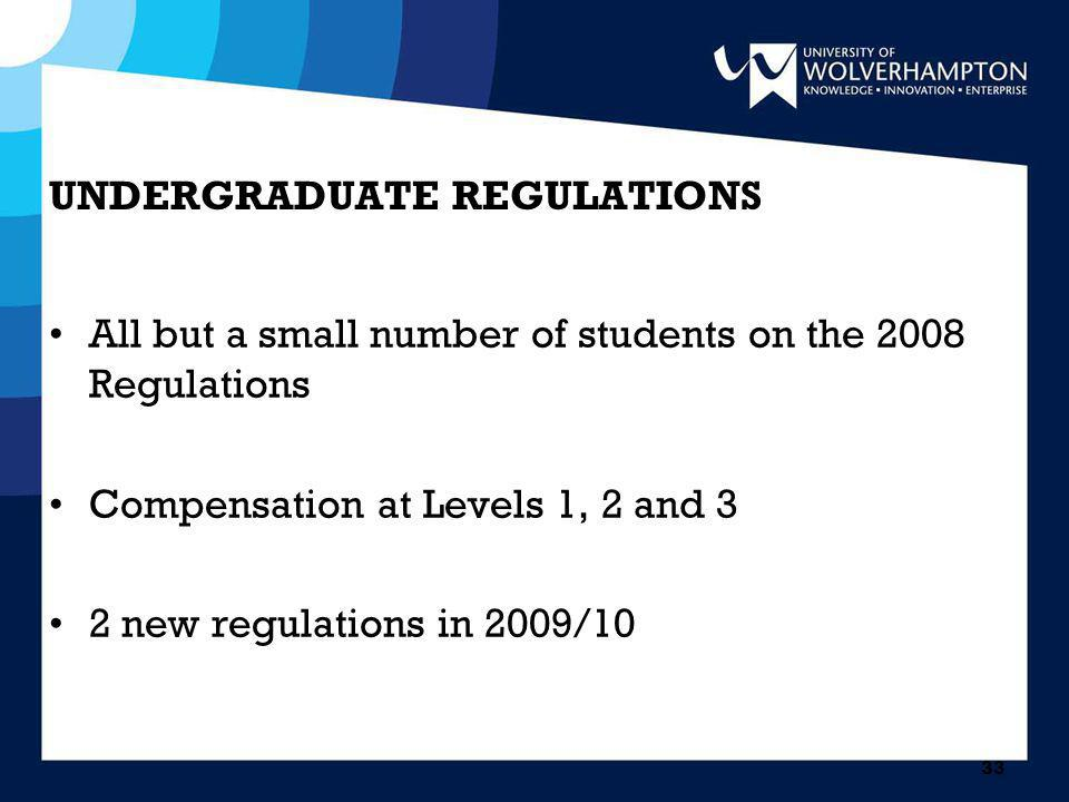 33 UNDERGRADUATE REGULATIONS All but a small number of students on the 2008 Regulations Compensation at Levels 1, 2 and 3 2 new regulations in 2009/10