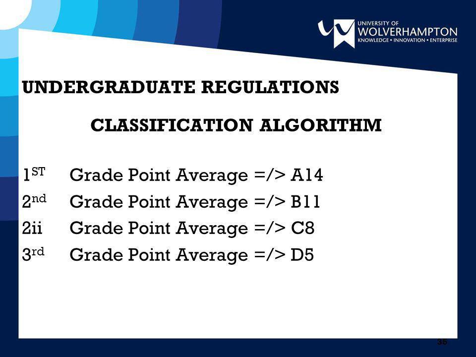 35 UNDERGRADUATE REGULATIONS CLASSIFICATION ALGORITHM 1 ST Grade Point Average =/> A14 2 nd Grade Point Average =/> B11 2iiGrade Point Average =/> C8