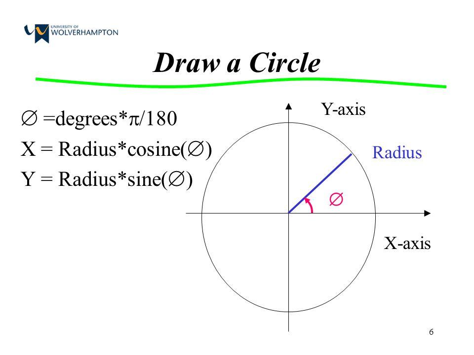 6 Draw a Circle  =degrees*  /180 X = Radius*cosine(  ) Y = Radius*sine(  )  X-axis Y-axis Radius