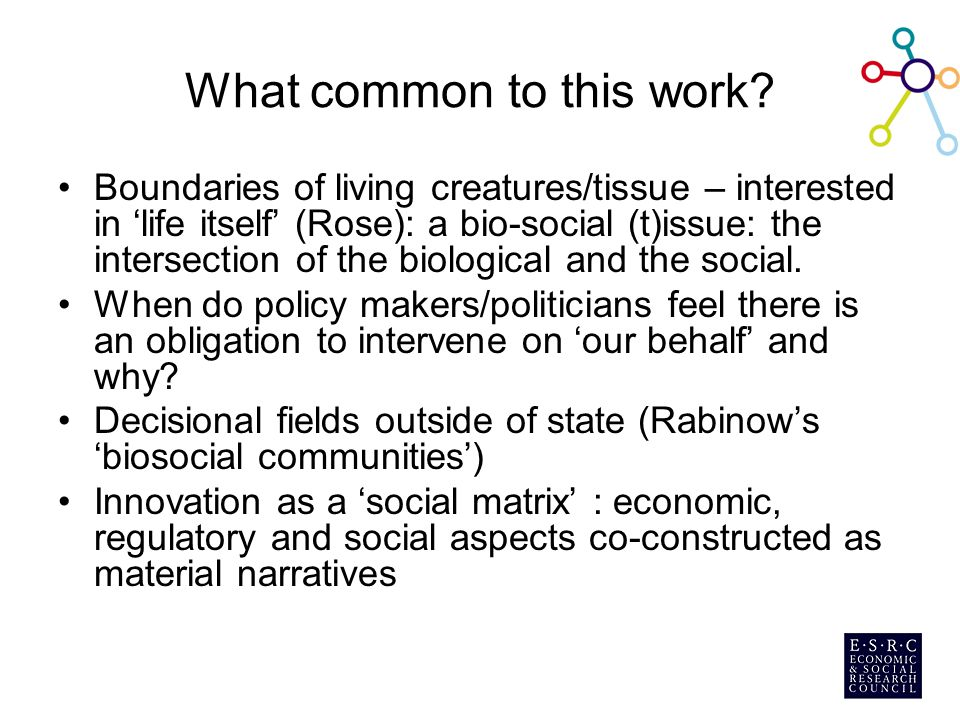 What common to this work? Boundaries of living creatures/tissue – interested in 'life itself' (Rose): a bio-social (t)issue: the intersection of the b