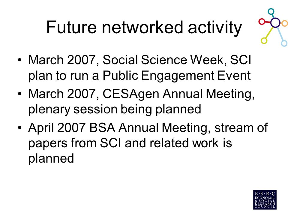 Future networked activity March 2007, Social Science Week, SCI plan to run a Public Engagement Event March 2007, CESAgen Annual Meeting, plenary sessi