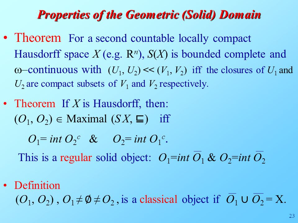 23 Theorem For a second countable locally compact Hausdorff space X (e.g.