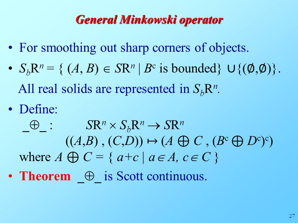 27 General Minkowski operator For smoothing out sharp corners of objects.