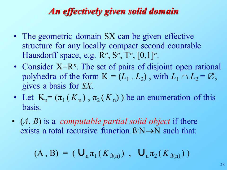 28 (A, B) is a computable partial solid object if there exists a total recursive function ß:N  N such that: An effectively given solid domain The geometric domain SX can be given effective structure for any locally compact second countable Hausdorff space, e.g.